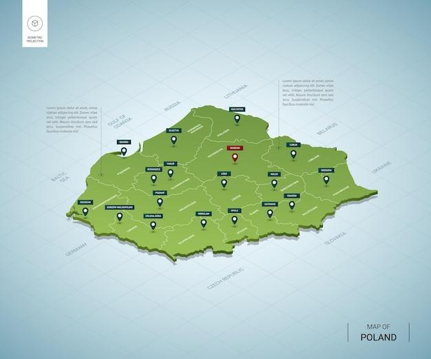 Stylizowana mapa polski. izometryczna zielona mapa 3d z miastami, granicami, stolicą warszawa, regionami.