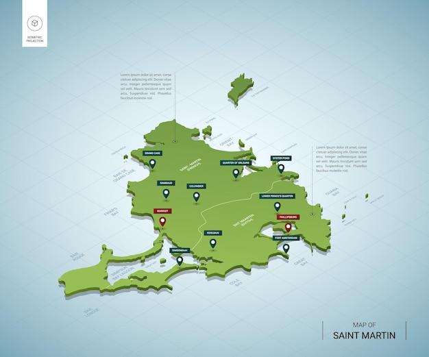 Stylizowana mapa saint martin. izometryczna zielona mapa 3d z miastami, granicami, stolicami i regionami.
