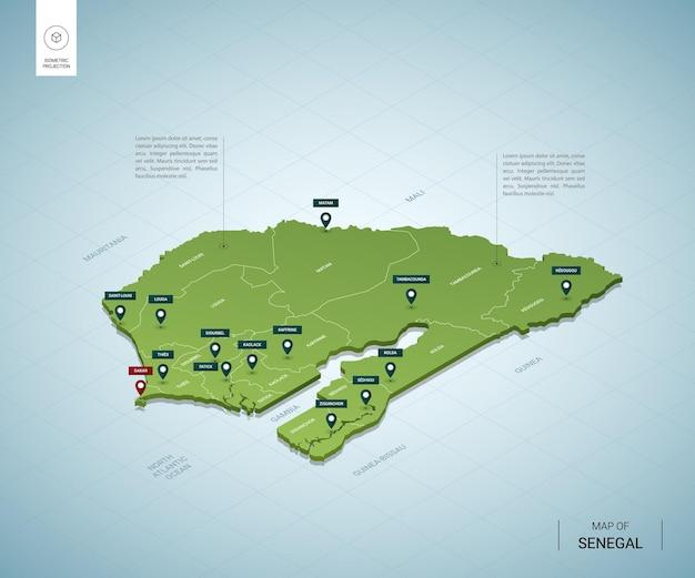 Stylizowana mapa senegalu. izometryczna zielona mapa 3d z miastami, granicami, stolicą dakar i regionami.