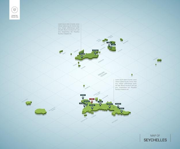 Stylizowana mapa seszeli. izometryczna zielona mapa 3d z miastami, granicami, stolicami i regionami.
