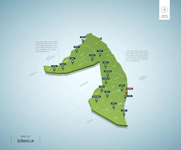 Stylizowana mapa somalii. izometryczna zielona mapa 3d z miastami, granicami, stolicą mogadiszu i regionami.