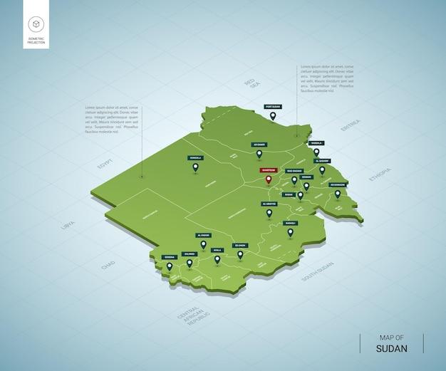 Stylizowana mapa sudanu. izometryczna zielona mapa 3d z miastami, granicami, stolicą chartumu i regionami.