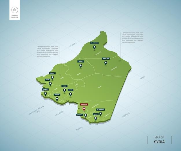 Stylizowana mapa syrii. izometryczna zielona mapa 3d z miastami, granicami, stolicą damaszku i regionami.