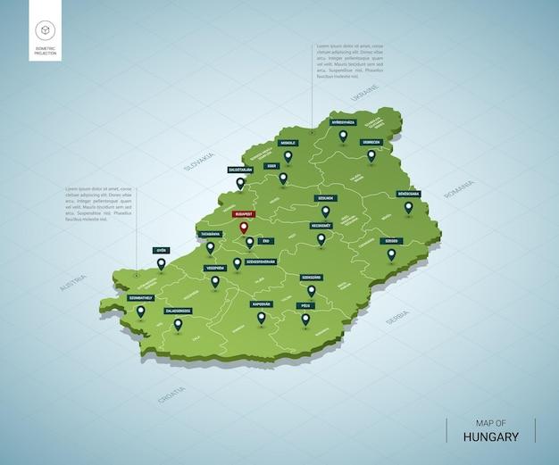 Stylizowana mapa węgier. izometryczna zielona mapa 3d z miastami, granicami, stolicą budapesztu i regionami.