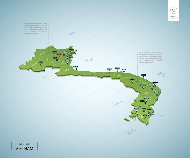 Stylizowana mapa wietnamu. izometryczna zielona mapa 3d z miastami, granicami, stolicą hanoi i regionami.