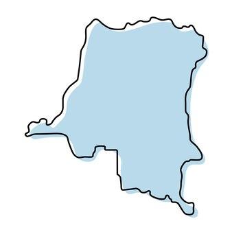 Stylizowana prosta mapa konturowa ikony demokratycznej republiki konga. niebieska mapa szkicu demokratycznej republiki konga ilustracji wektorowych