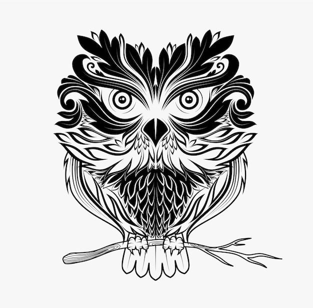 Stylizowana twarz sowy w stylu zentangle