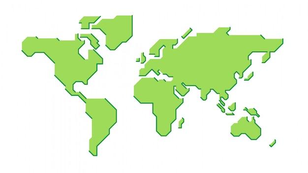 Stylizowana zielona mapa świata