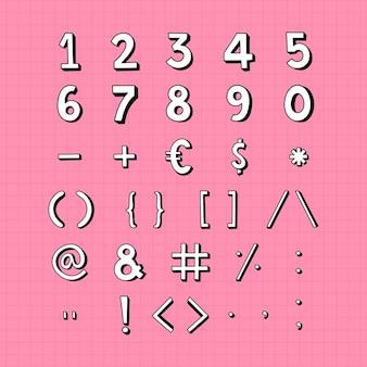 Stylizowane cyfry i zestaw symboli