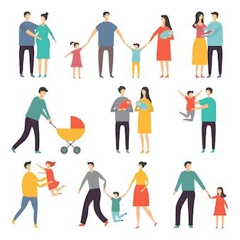 Stylizowane ilustracje szczęśliwej rodziny. dorośli i dzieci