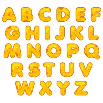 Stylizowane ładny alfabet. cartoon cheese litery do własnego tekstu