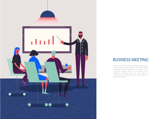 Stylizowane postacie. biznesowa ilustracja. spotkanie, konferencja, analiza, grupa robocza. ludzie siedzący w biurze