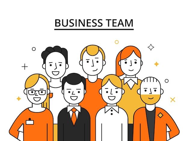 Stylizowane postacie zespołu biznesowego