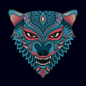 Stylizowane wilk na ilustracji w stylu etnicznym