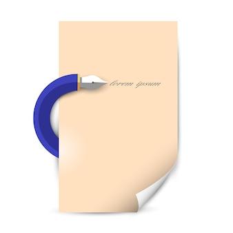 Stylizowany długopis do pisania z czystym arkuszem papieru