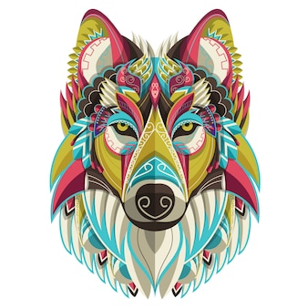 Stylizowany kolorowy wilczy portret na białym tle