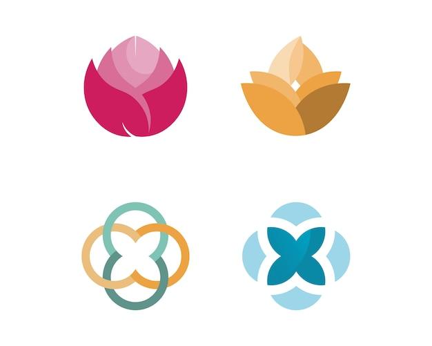 Stylizowany lotosowy kwiat ikony wektoru tło
