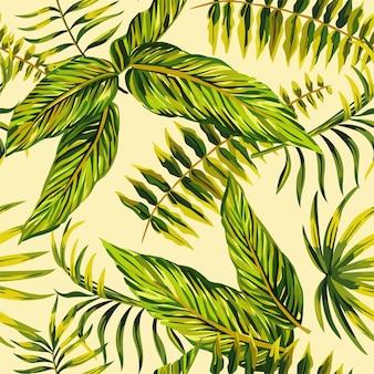 Stylizowany tropikalny egzotyczny obraz kwiatowy liść palmowy na jasnożółtym wzorze.