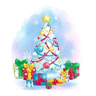 Stylowa biała choinka z kolorowymi dekoracjami i pudełkami prezentowymi.