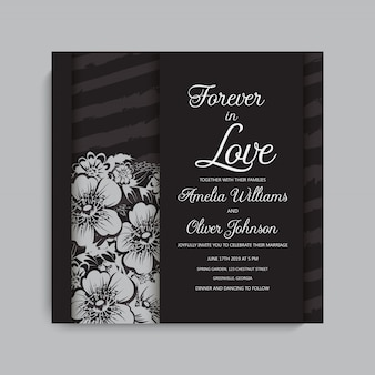 Stylowa ciemna ramka ślubna z kwiatami.