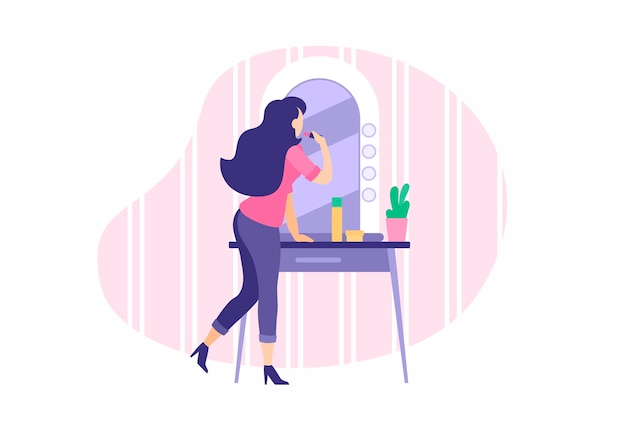 Stylowa dziewczyna robi makijaż w pobliżu lustra. młoda kobieta maluje usta i nakłada podkład na twarz. rutynowa uroda przed wyjściem z zabiegów kosmetycznych przeciwstarzeniowych. ilustracja kreskówka wektor