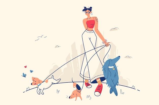 Stylowa dziewczyna spaceru z psami wektor ilustracja kobieta spaceru w parku na świeżym powietrzu ze zwierzętami domowymi płaski wypoczynek weekend zabawa koncepcja czasu wolnego na białym tle
