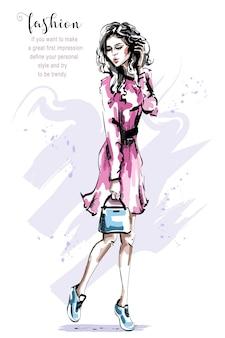 Stylowa dziewczyna w sukience.