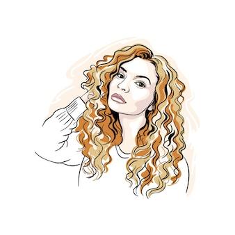 Stylowa elegancka dziewczyna z czerwonymi kręconymi włosami na białym tle