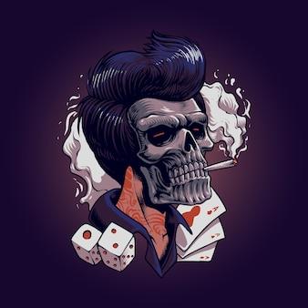 Stylowa głowa gangsterskiej czaszki