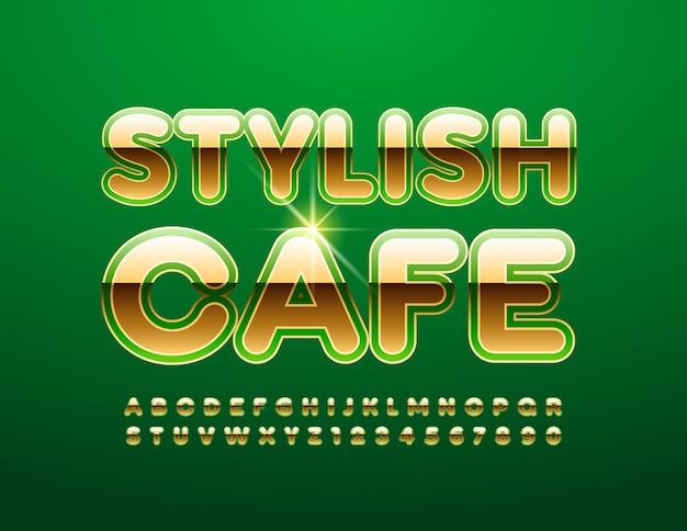Stylowa kawiarnia. premium zielona i złota czcionka. luksusowy zestaw liter alfabetu i cyfr