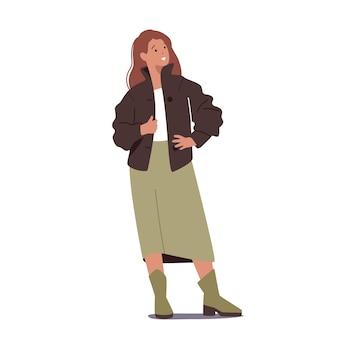 Stylowa kobieta ubrana w zamszową lub skórzaną kurtkę, długą spódnicę i buty. moda jesienna dla dziewczynek, odzież codzienna