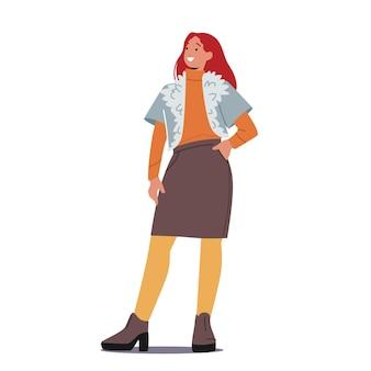 Stylowa kobieta w modnych strojach ciepła kurtka z futrzanym kołnierzem, sweter i spódnica z wełnianymi rajstopami lub butami na obcasie. młoda postać kobieca w nowoczesnych jesiennych ubraniach. ilustracja kreskówka wektor