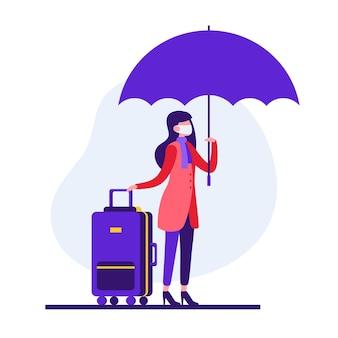 Stylowa kolorowa ilustracja postaci kobiecej podróżniczki w masce ochronnej do zapobiegania koronawirusowi trzymając parasol i walizkę