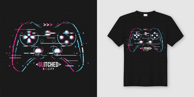 Stylowa koszulka i modne ubrania z glitchy gamepad