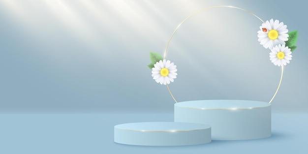 Stylowa minimalistyczna scena i złoty okrąg z kwiatami plumerii. scena 3d lub podium. efekt wiązki światła.
