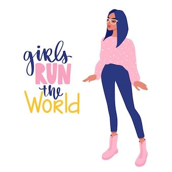 Stylowa piękna dziewczyna w modzie ubrania w okularach. ilustracja moda.
