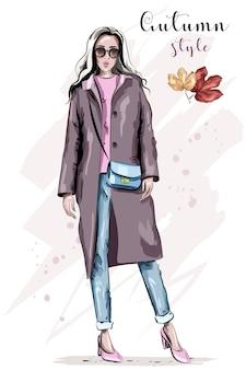 Stylowa piękna kobieta w ilustracji płaszcz