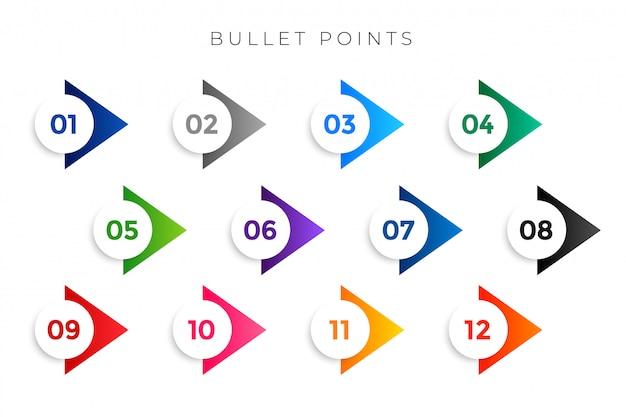 Stylowa strzałka wskazuje numery od jednego do dwunastu