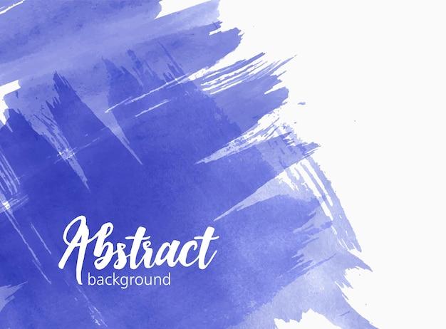 Stylowe artystyczne tło akwarelowe lub tło ze śladem farby, chaotycznymi pociągnięciami pędzla, plamą, smugą żywego niebieskiego koloru