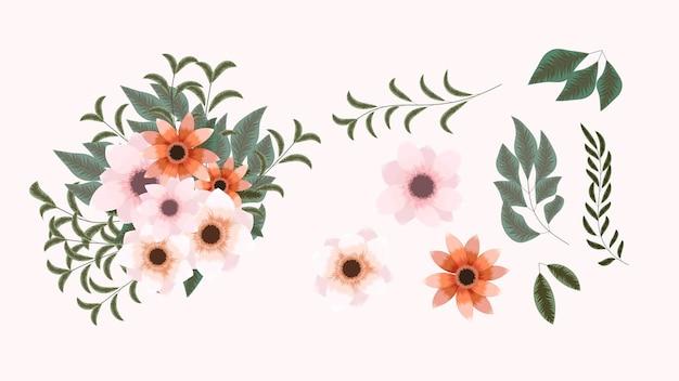 Stylowe eleganckie kwiaty ogrodowe izolowane aranżacje elementów projektu na wesela tekstylne