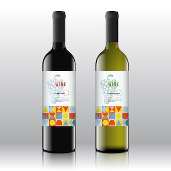 Stylowe etykiety na wino czerwone i białe na realistycznych butelkach.