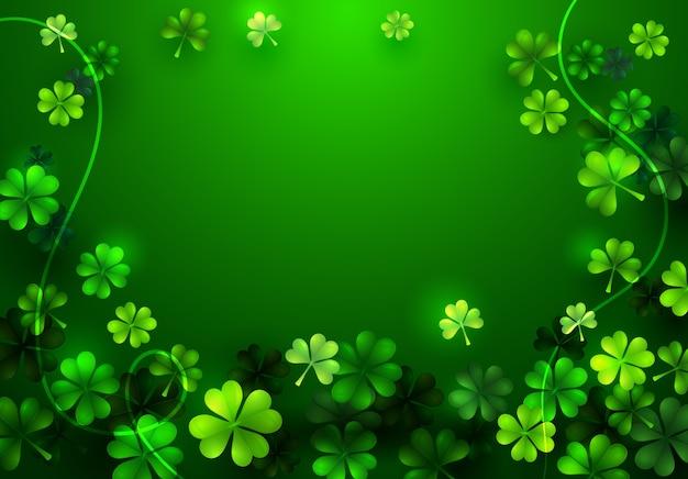 Stylowe happy saint patricks day puste powitanie karta lub plakat z koniczyny na zielonym tle. irlandzkie wakacje koncepcja projektowania tapety. streszczenie liść koniczyny płaski kreskówka wektor ilustracja