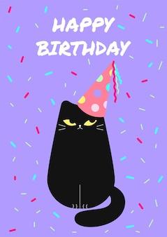 Stylowe kartki urodzinowe z zabawnym czarnym kotem wektorowa kartka z życzeniami z uroczym zwierzęciem
