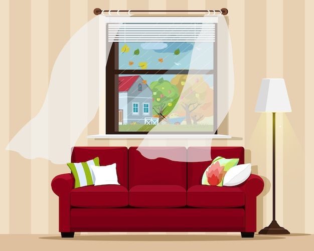 Stylowe, komfortowe wnętrze pokoju z sofą, lampką, oknem i jesiennym pejzażem. ilustracja.