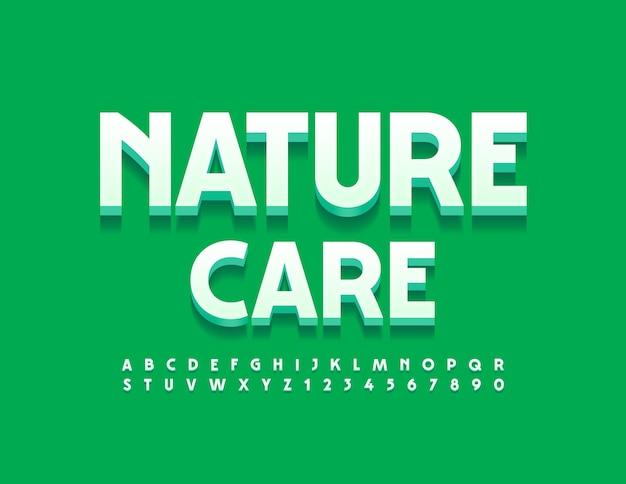 Stylowe logo nature care z zestawem liter i cyfr alfabetu 3d elegancki styl czcionki