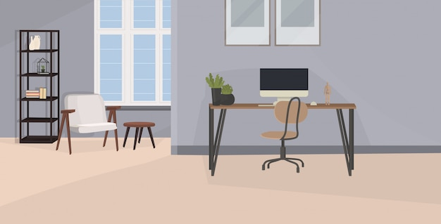 Stylowe miejsce pracy z monitorem komputera w biurze nowoczesne wnętrze szafy pusty pokój bez ludzi z meblami płaskie poziome