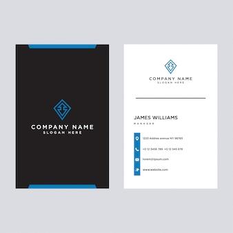 Stylowe niebieskie eleganckie wizytówki, szablon