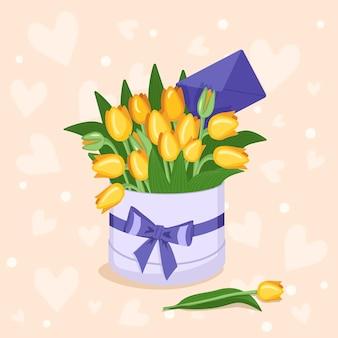 Stylowe okrągłe pudełko z naklejką na tekst z czerwonymi, żółtymi, białymi, różowymi serduszkami tulipanów i kopertami na...