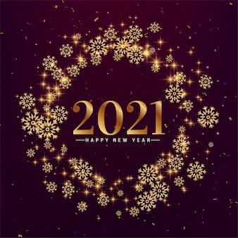 Stylowe płatki śniegu szczęśliwego nowego roku 2021