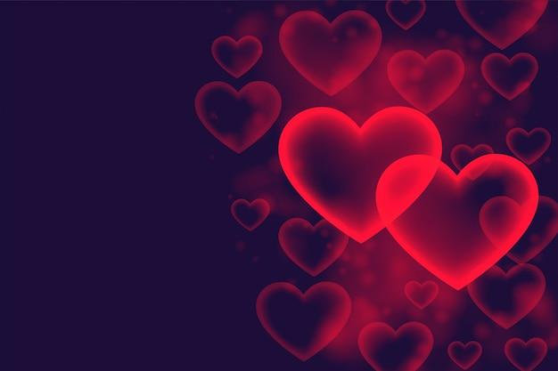 Stylowe serca bańki romantycznej miłości tło